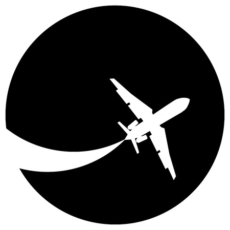 Silhouette of a aeroplane on a black background. Illustration