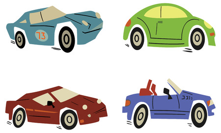 car side view: Set of cartoon cars.  illustration Illustration