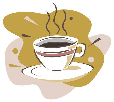 chicchi caff� su sfondo bianco: Una tazza di caff� nero. illustrazione Vettoriali
