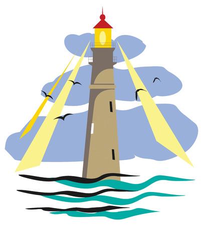 lighthouse at night: Ilustraci�n de un faro luminoso. Vectores