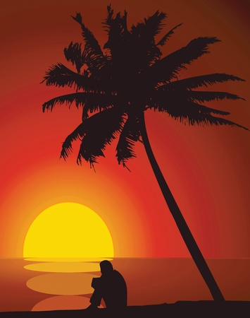 alone person: A man and a palm tree at sunset. Illustration