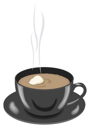 hot plate: Caf� en una taza negra