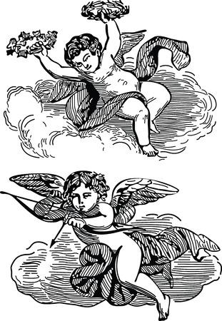 engelen in de hemel Stock Illustratie