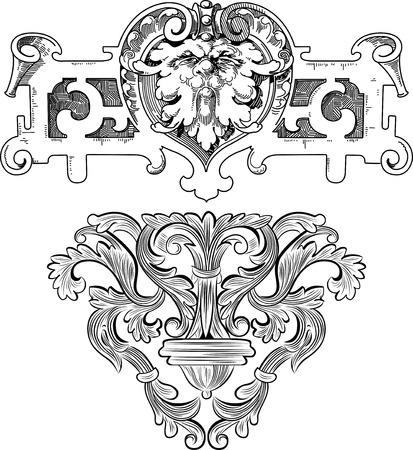 crocket: floral & metallic design elements Illustration