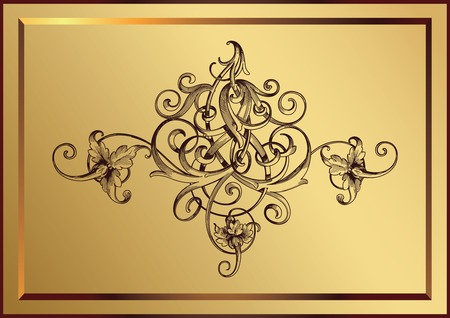 golden floral with frame Vector