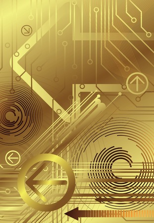 connective: golden background in technology