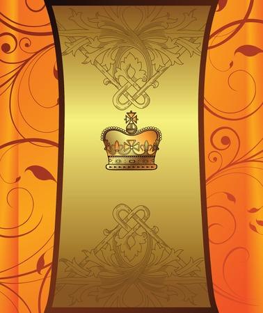 golden orange floral background Vectores