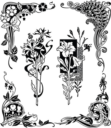 Floral Design Elements 1-2 Vector