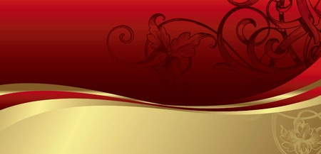 Abstract Red Floral Background with Curve Illustration