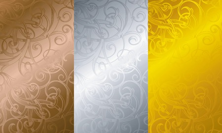 gold silver bronze: Vintage Floral Texture Background 3 Illustration