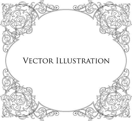 black and white frame: Vintage Floral Frame 5 Illustration