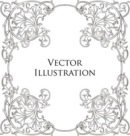 cadre noir et blanc: Mill�sime floral frame 4 Illustration