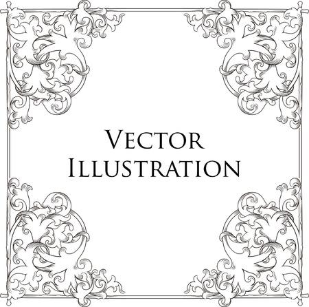 elegância: Vintage Floral Frame 3 Ilustração