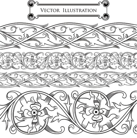 Vintage Floral Border Set Stock Vector - 8391293