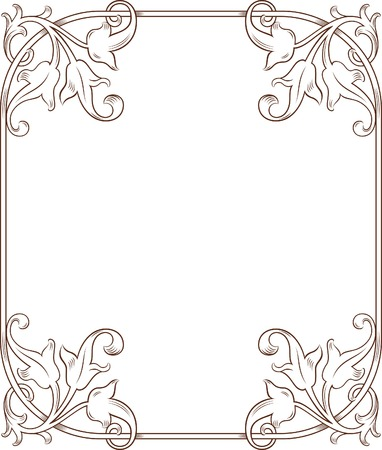 traced: Vintage Floral Frame 6 Illustration