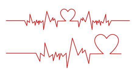 Ilustración de una onda de ECG dentro de un corazón rojo aislado sobre un fondo blanco.