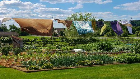 Vêtements, couvertures et serviettes suspendus à une corde à linge séchant dans la brise au-dessus d'un jardin, dans une ferme amish à Lancaster, en Pennsylvanie