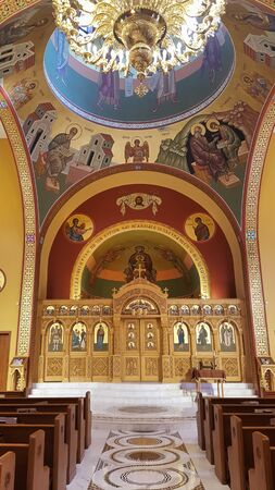 Decorated and painted sanctuary of a local Greek Orthodox church