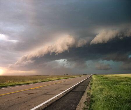 View of a shelf or wall cloud, storm making it's way through Nebraskan plains