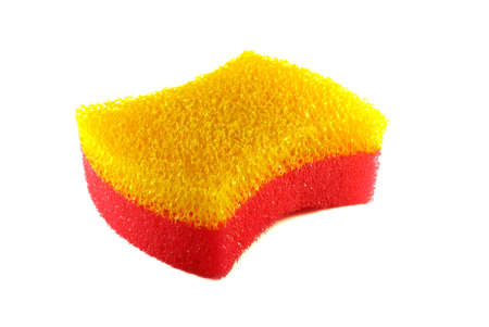 neatness: Yellow-red sponge isolated on white