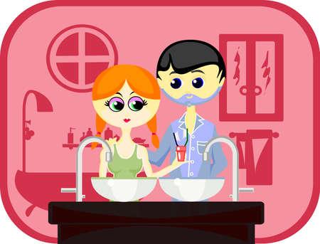 redheaded: Ilustraci�n vectorial: marido y mujer se van a poner WC ma�ana juntos. Hombre (la cintura), ni�a (la cintura), los muebles y de fondo en capas separadas totalmente editables.