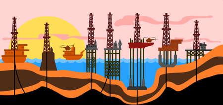 はしけ: ベクトル イラスト: 海石油生産 derrics の異なる種類。