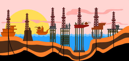 Vector illustration: defferent types of sea oil-production derrics.
