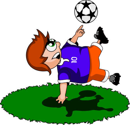 tenth: illustration: soccer player makes a perfect strike. Illustration