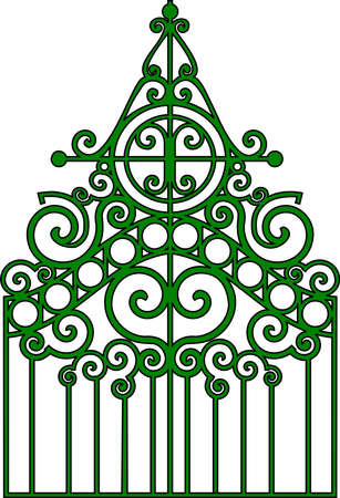 ancient blacksmith: Vector illustration:isolated gothic ornamental wrought gates. Illustration