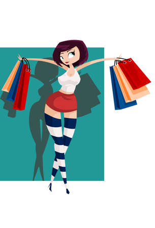 illustration: sexy girl carries colorful shopping-bags.