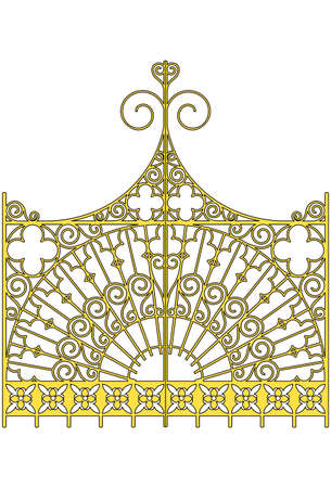 ancient blacksmith: illustration:isolated ornamental golden gates Illustration