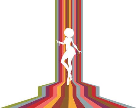 Ilustración: silueta blanca de sexy girl baile sobre fondo retro stripy.