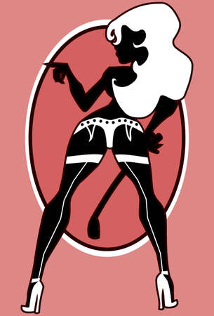illustration: silhouette of  the sexy girl in lingerie with scrop.