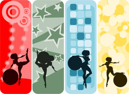 supple: Vector illustration:set of vertical banners with girls and gymnastic balls silhouettes against abstract backgrounds.