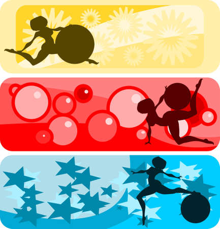 Vector illustration:set of horizontal banners with girls and gymnastic balls silhouettes against abstract backgrounds. Vector
