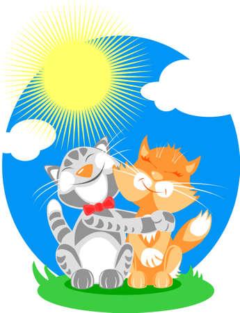 grey sky: Vector illustration: cats in love under sunny sky.