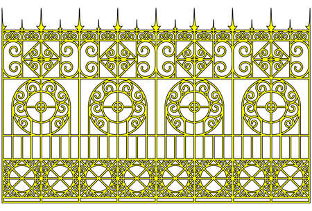iron gate: Vector illustration:isolated ornamental golden gates.