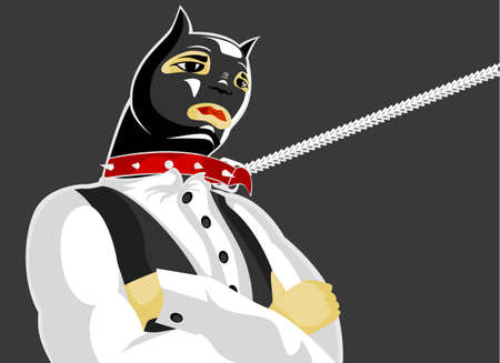 intractable: Vector illustration: cat-man in fetish clothes stands in the intractable pose
