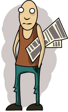 silliness: illustration: Scrawny guy with a newspaper under his arm Illustration