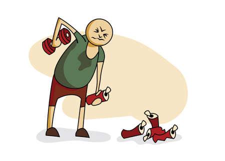 hombre levantando pesas: Ilustraci�n: guy levantamiento de mancuernas en una mano y cerveza en la otra
