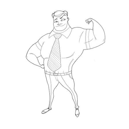 beefy: Illustration: alfa supermanager demonstrates his big biceps