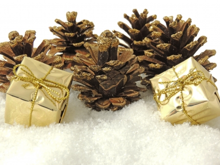 pine cones and gifts decoration photo