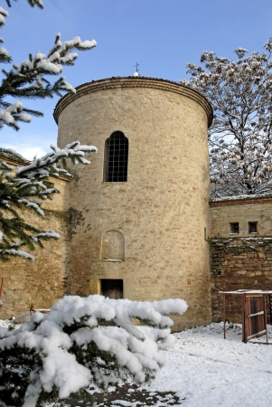 orthodox monastery tower in a winter day Stock Photo