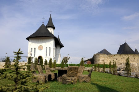 landscape with a orthodox church in a sunny day Stock Photo