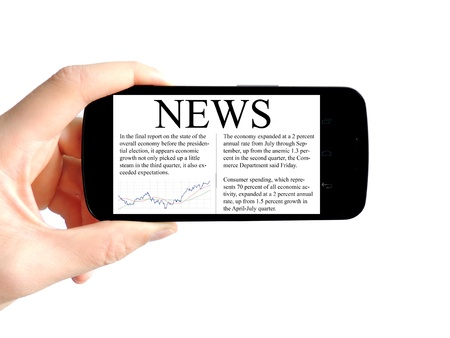 hand take a smart phone that have news Stock Photo - 16915360