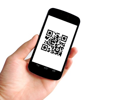 QR code with mobile phone isolated on white background