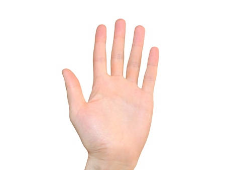 hand gesture number five fingers up isolated on a white background  photo