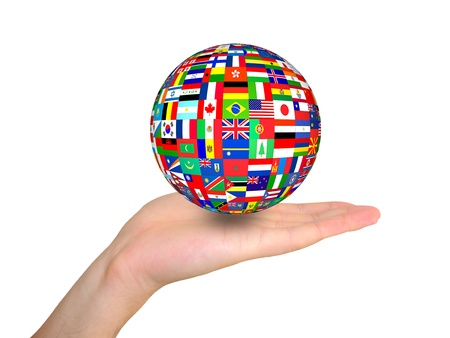 world flags globe in hand isolated on white background