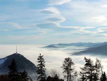 fog in mountains landscape in sunny day