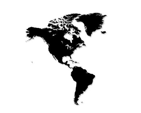 continente americano: norte y sur América Mapa blanco y negro Foto de archivo